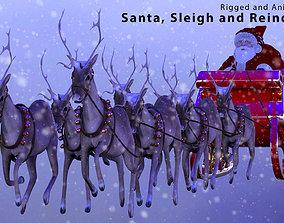 3D model animated Santa Sleigh and Reindeer