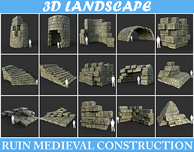 3D Low poly Mossy Ruin Medieval Construction Pack 190424