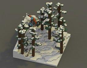 Snowboarding Voxel Scene 3D asset