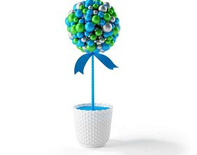 3D Blue Green And Silver Ornament Bouquet