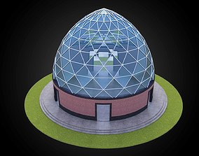 3D Dome triangulated glass panels and wire-frame 2