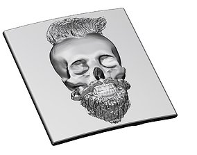 3D print model Bearded skull belt buckle
