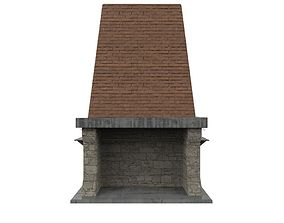 3D model game-ready Stone Fireplace