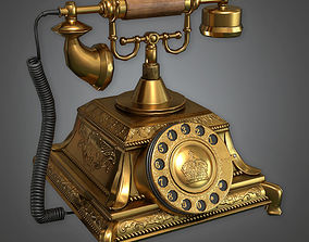 3D asset Old Stationary Phone Antiques - PBR Game Ready