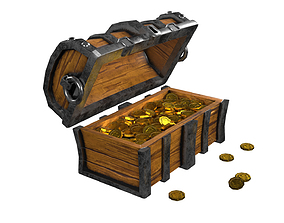 Chest 3D model animated low-poly