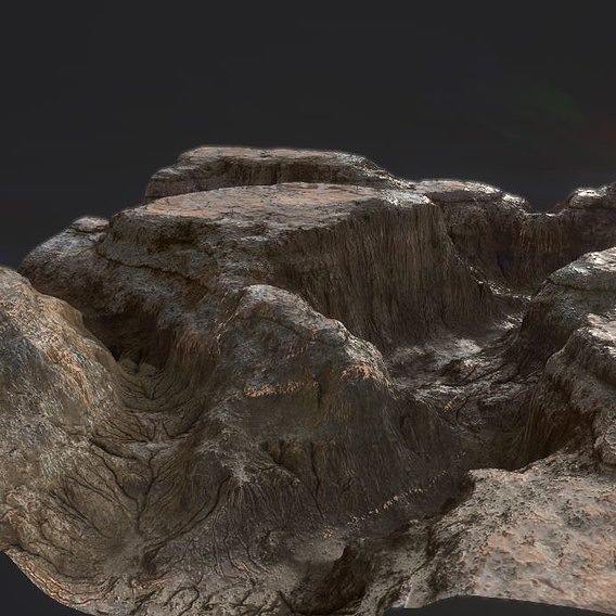 PBR Detailed Canyon Valley Landscape Low-poly 3D model Low-poly 3D model