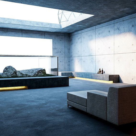 Living Concrete Block - ArchViz