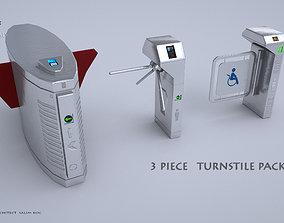 TURNSTILE PACK 3D MODEL 3 PIECE industrial realtime
