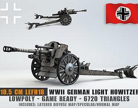 3D model Low Poly 10 5 cm leichte Feldhaubitze Anti Tank