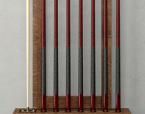 BRUNSWICK VINTAGE BILLIARDS TABLE CUE RACK 3D