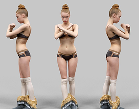3D asset Girl in Brown Beige Bikini and Fluffy Boots 1