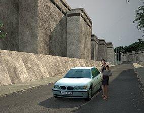 Low poly car girl 3D asset