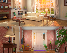 Cartoon Hall Living Room 3D model