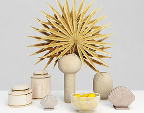 Decorative set with palm leaves 3D model