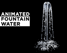 3D Animated splashing fountain water simulation