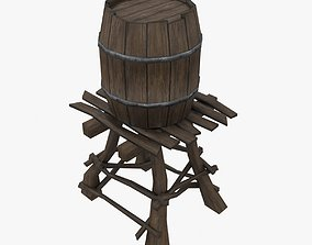 low-poly Wooden water tower low-poly 3d model