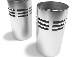 Two Silver Metal Accent Containers 3D