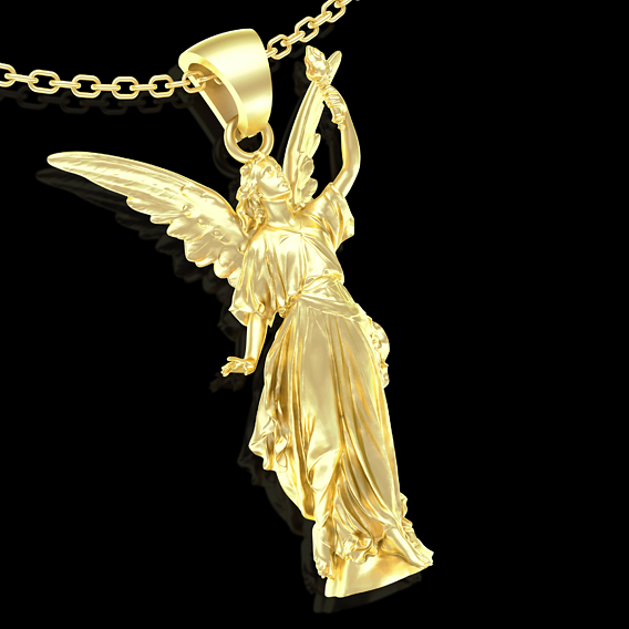 Goddess Lady Luck Angel Pendant jewelry Gold 3D print mode