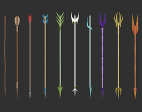 3D model realtime 10 Bow Arrows Asset - Pack Collection