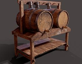3D asset Wine Barrels and Holder
