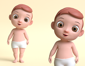 3D asset realtime Cartoon Baby Boy