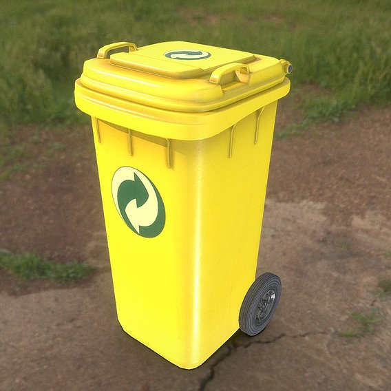 Yellow Plastic Waste Bin 120 Liters 936x550x482