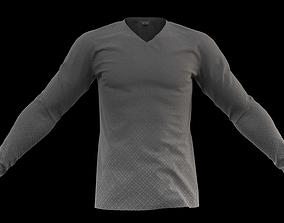 Casual grey long sleeve tee sweater 3D