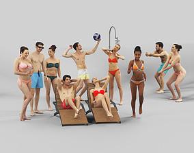 3D model 10x Beach Woman Man Bikini Swimsuit Scanned Vol01