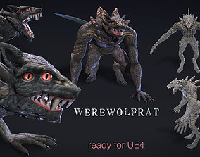 3D asset animated Werewolfrat monster from the sewer