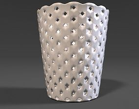 PBR Curved Lattice Wastebasket 3D