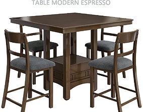 Height Counter Rooms Table Modern Espresso 3d realtime