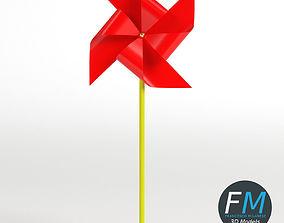 3D model Red pinwheel