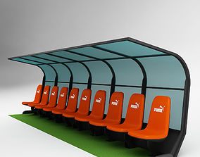 Soccer Bench for Coach Reserve Players 02 3D
