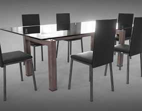 3D model PBR Table and chairs