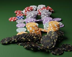 Poker chips EURO asset 3D model low-poly