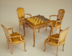 Chess Table Armchairs 3D asset