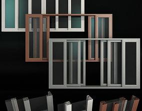 3D glass Sliding Stained Glass Aluminum Doors