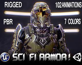3D model animated Sci-Fi Armor 1