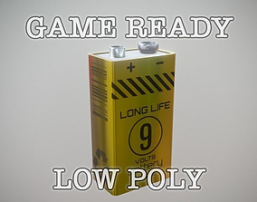 3D model game-ready 9V Battery low poly game ready