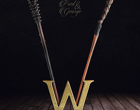 3D print model FRED and GEORGE WEASLEY WAND with DISPLAY