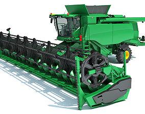 3D Green Combine Harvester