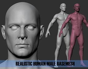 Realistic Human Male Basemesh 3D asset low-poly