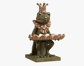 Frog and Dish Statuette 3D asset