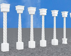 3D model Pillar with Box and Cylinder using Taper and 1