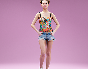 3D model Flower Top and Jeans Short Girl with Hands in 1