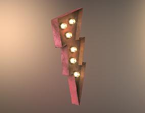 3D model Lightning Bolt Rusted Sign