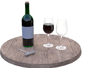 3D Wine Bottle and Glass Set