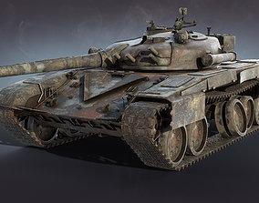 3D model game-ready Tank T-72 Burnt