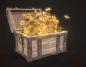 Stylized Treasure Chest 3D model animated
