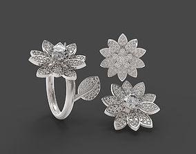 3D printable model Lotus flower pendant and ring set